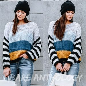 Striped Sleeve Colorblock Sweater